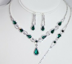 3PC Bridal Set Silver Diamond Crystal Necklace Earrings and Bracelet //17249