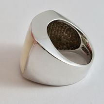 Ring Band Silver 925 with Nacre Rectangular White and Pink image 4
