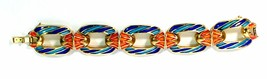 Crown Trifari King Tut Egyptian Revival Glossy Aqua Green Enamel Link Bracelet - $389.99