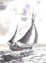"""Akimova: SEASCAPE, sail boat, ink, black&white, 5""""x 7"""" - $12.00"""