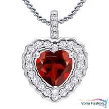 White Gold Plated Pure 925 Silver Heart Shape Red Garnet Womens Pendant ... - £45.24 GBP