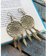 Dream catcher earrings brass, dangle gold earrings women, boho hippie ea... - $22.95