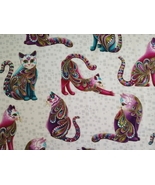 1/2 yard colorful Cats/Artist-O-Cats on white cotton quilt fabric -free ... - $7.99