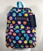 JanSport Superbreak Backpack Blue Multi Watercolor Polka Dots NWT - $33.81