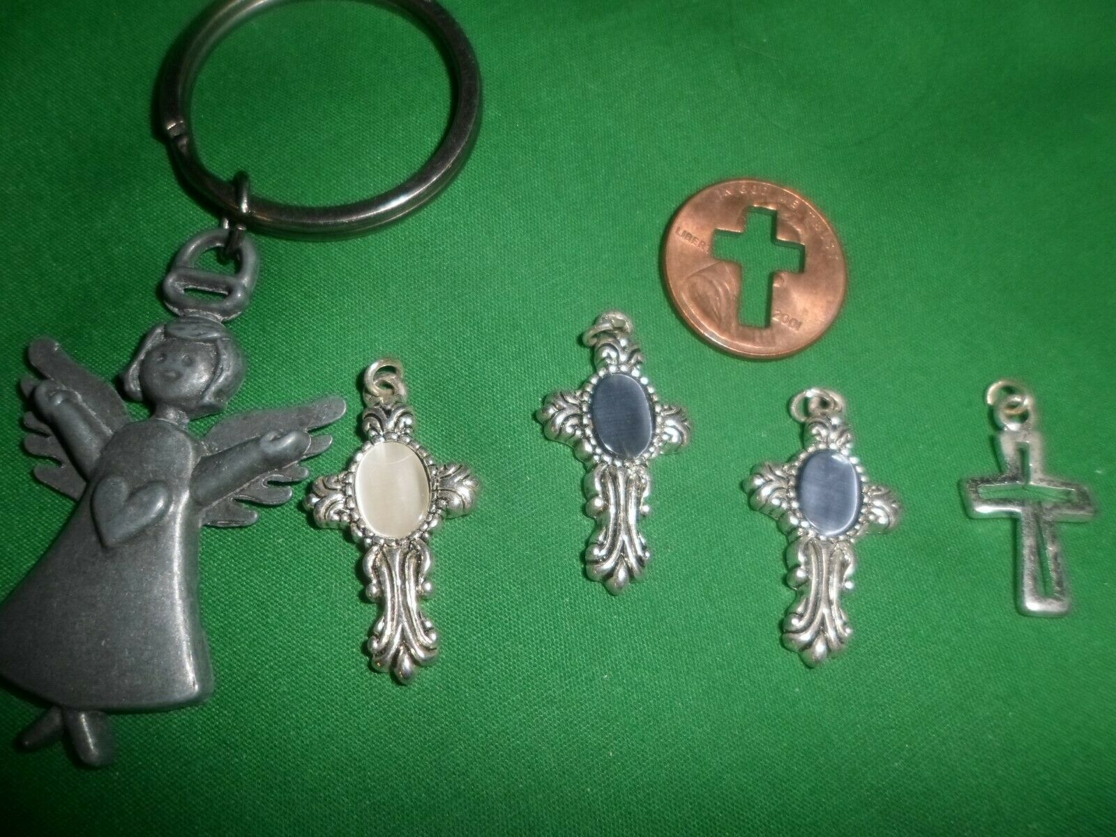Primary image for Key Chain Purse Fob Charm peweter angel + 4 cross charms 1 cut out cross penny