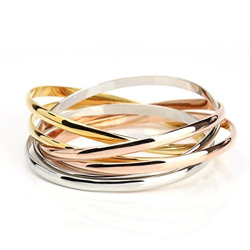 UE-Contemporary Multi Strand Tri-Color (Rose, Silver, Gold Tone) Bangle Bracelet