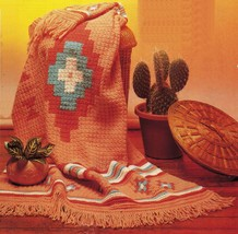Crochet Southwest Sante Fe Fiesta Desert Native Blanket Throw Afghan Pat... - $9.99