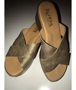 Korks Kork-Ease Wedges Slides Sandals SOFT GOLD METALLIC sz 7 US 38 EU M Leather - $31.35