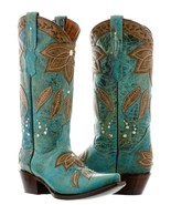 Womens Turquoise Flower Western Leather Cowgirl Boots Summer Leaves Snip... - €152,40 EUR
