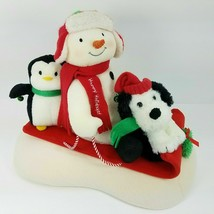 2007 Hallmark Jingle Pals Snow What Fun Sledders Animated Snowman Sleigh... - $99.72