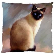 Pillow case Throw Pillow Cushion Cover Cat 613 siamese art by L.Dumas - $24.99+