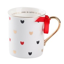 Love is Love Red Coffee Mug with Gold Handle & Hearts Decoration Ceramic... - $13.89