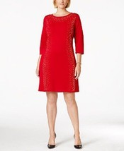Calvin Klein Sweater Dress Sz S Red Gold Silver... - $62.73