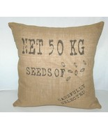 Surya Goose Feather Down Seeds Throw Pillow Pure Jute Cover - £59.46 GBP