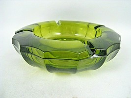 Vintage Fostoria Glass Coin Pattern Glass 4 Slot Ashtray Dish Olive Green - $9.70
