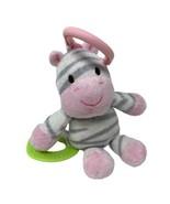 Carters Plush Pink Gray White Zebra Stuffed Animal Rattle Green Heart Te... - $14.00