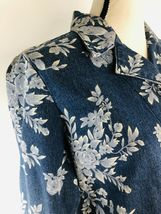 DENIM & CO Women's Jacket Blue Jean Floral Rose Flower Graphics Size Small $75 image 4