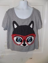 Size 8 or 18 Justice Girl Hello Fox Pullover Holiday Bling Sweater Navy Blue NWT