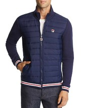 NWT $100 ORIGINAL FILA NAVY BLUE QUILTED/KNIT FULL ZIP TREV JACKET SIZE M - $44.55