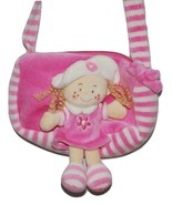 Girls Pink & White Soft Plush Handbag with Stuffed Doll on the Front (New) - $6.99