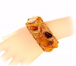 Genuine Baltic amber designer bracelet, vintage inspired - $125.00