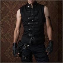 Medieval Viking Warrior Black Five Faux Leather Straps Sleeveless Tunic ... - $126.95