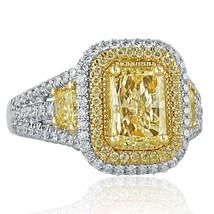 GIA 2.65 TCW Yellow Radiant Cut Diamond Engagement Ring 18k White Gold - $7,127.01
