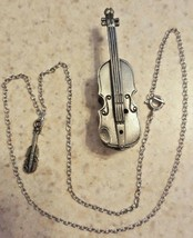 Vintage Torino Pewter Violin Brooch Pin Necklace Silver Tone Jewelry Box... - $17.82