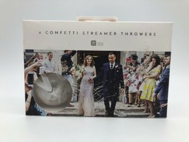 6 WHITE WEDDING CONFETTI STREAMER THROWERS Wedding Party Accessory THROWER - $19.40