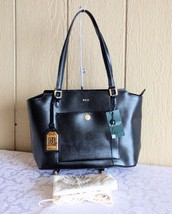 $178.00 Lauren Ralph Lauren Newbury Modern Pocket Saffiano Shopper, Black - $84.15