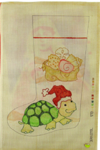 1970's Jean Etiel Hand Painted Needlepoint A Christmas Sea Turtle Stocking - $30.33