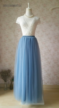 DUSTY BLUE Tulle Maxi Skirt High Waist Bridesmaid Tulle Skirt Blue Wedding Skirt image 2