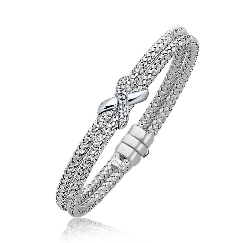 Diamond Accented X Station Weave Bangle in 14k White Gold (.17 cttw) Womens
