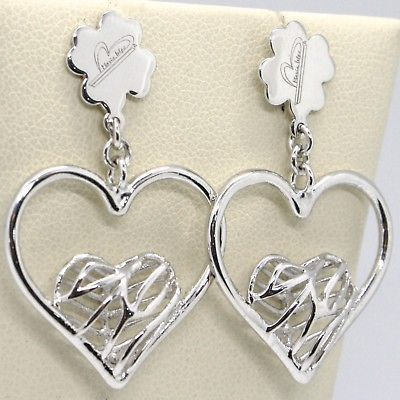 EARRINGS SILVER 925 WITH HEART PENDANT IN THE BY MARY JANE IELPO, MADE ITALY