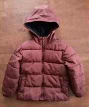 Old Navy Boys Winter Puffer Jacket Coat Sz XS 5 Maroon Hooded Fleece Lined  - $22.27