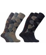 3 Pack Mens Thin Warm Extra Long Knee High Argyle Pattern Lambs Wool Dress Socks - £10.15 GBP