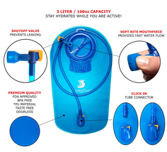 Hydration Water Bottle Bladder for Backpack Hiking Camping Hunting Runni... - $231,76 MXN