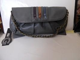 Nu G Grey Leather Bow Tie 3 Zipper Accent Cross Body Shoulder Bag Clutch... - $25.00