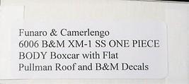 Funaro & Camerlengo HO Boston & Maine  XM-1 SS Boxcar One Piece Body Kit 6006 image 3