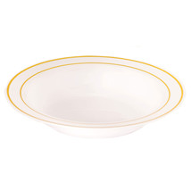 Plastic 12 Oz. White Round Bowl with Gold Band/Case of 120 - $85.49