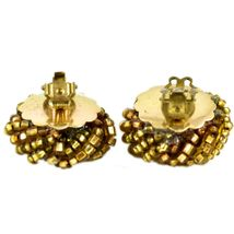 Vintage Golden Bead Cluster Wreath Clip-On Earrings Made in Japan image 5