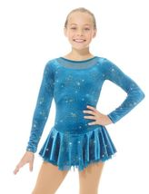 Mondor Model 2762 Ladies Skating Dress - Teal Daisy Size Adult Medium - $105.00