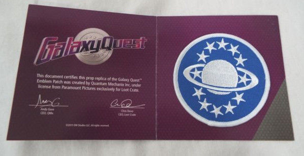 Primary image for Lootcrate Exclusive Galaxy Quest Emblem Patch 2015 Quantum Mechanix Inc.