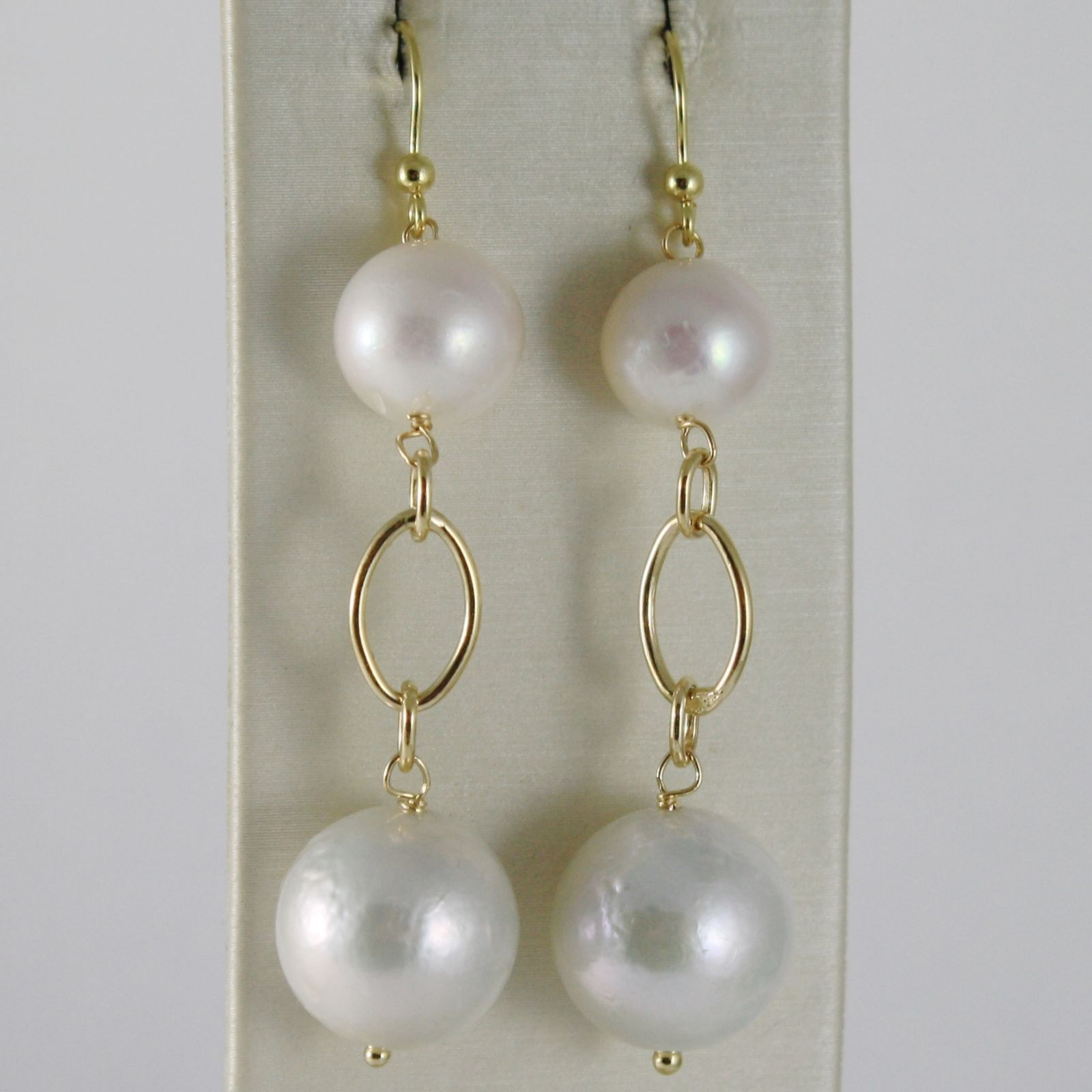 SOLID 18K YELLOW GOLD PENDANT EARRINGS WITH BIG 12 MM WHITE FRESHWATER PEARLS