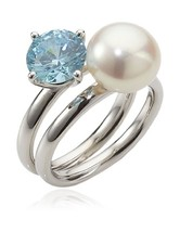 Adriana Women's Ring with Freshwater Cultured Pearl seaside 925 Sterling... - $115.28