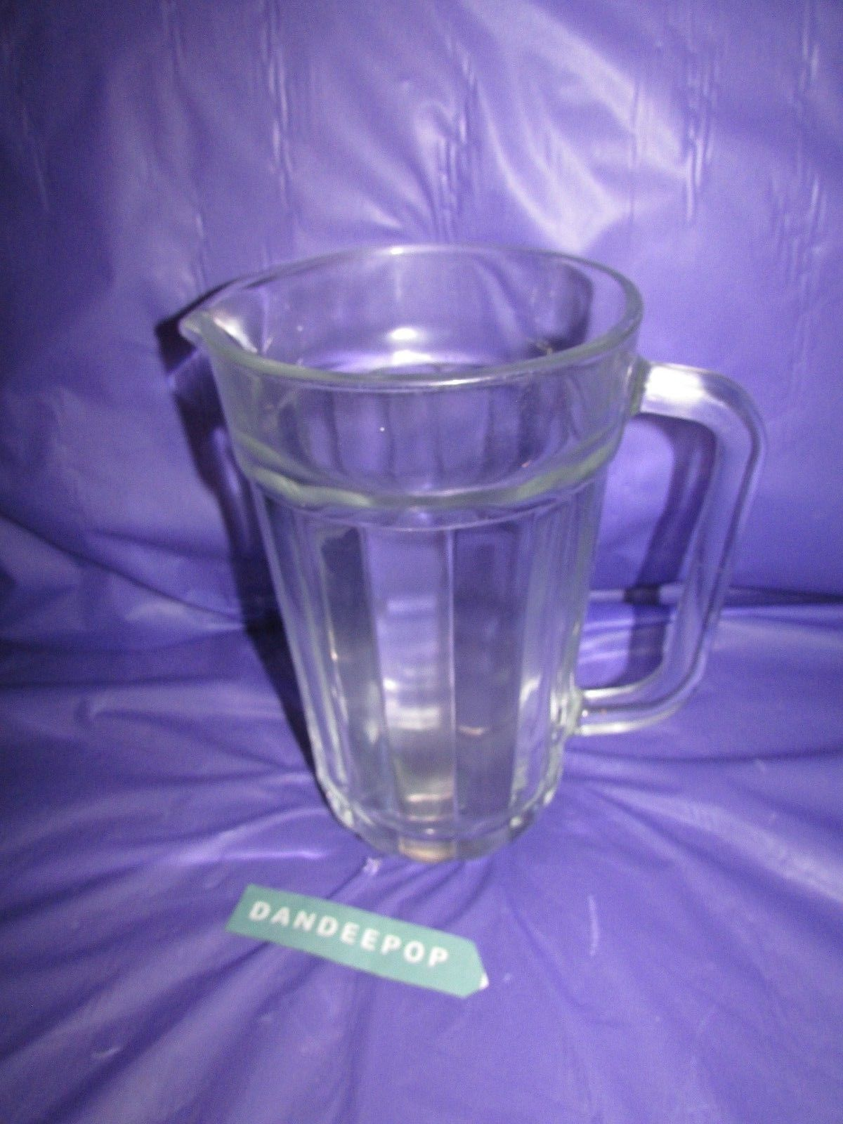 Lined Pattern Glass Serving Drink Home Bar Table Pitcher