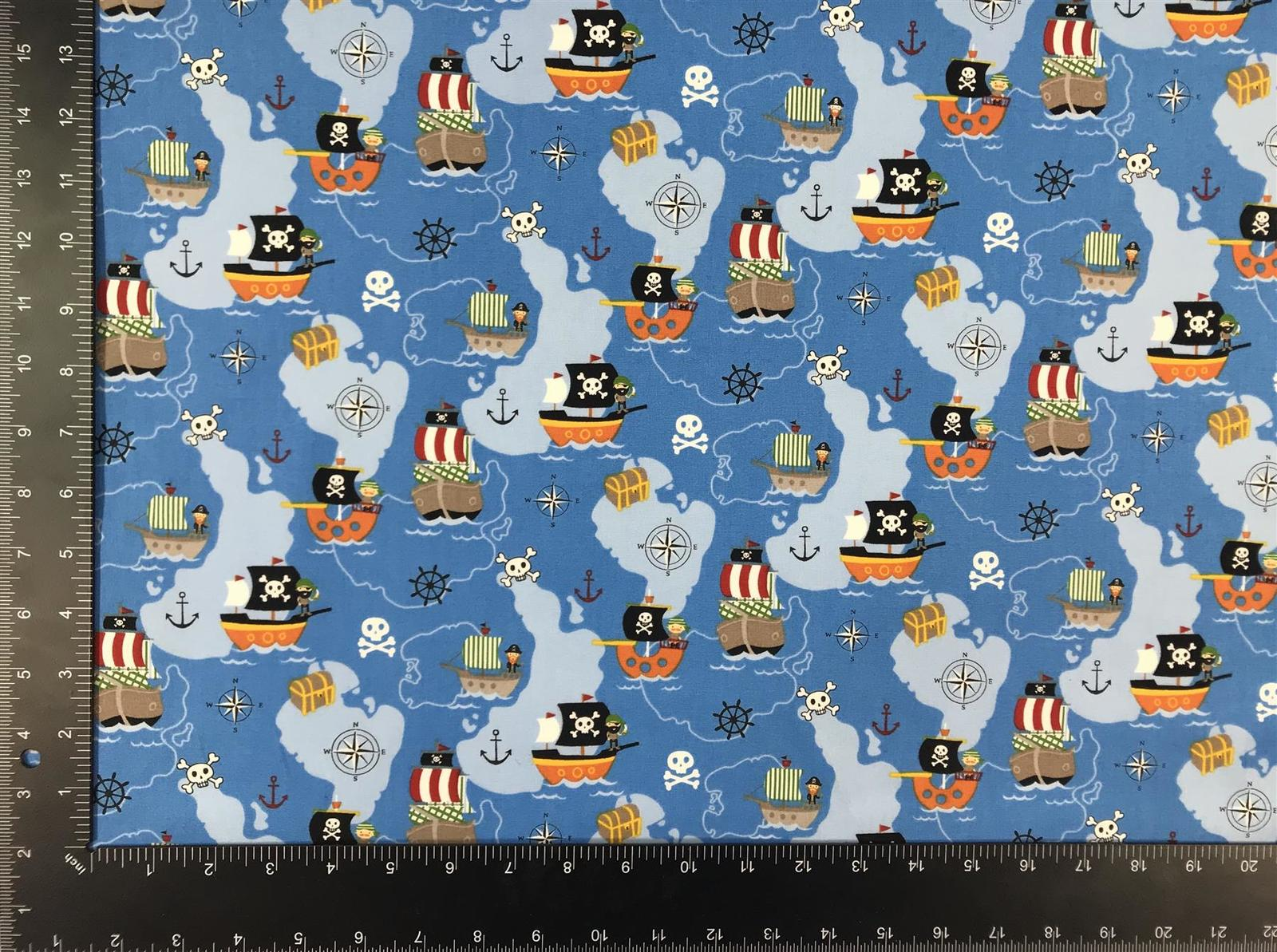 Pirate Ship Island Blue 100% Cotton High Quality Fabric Material *3 Sizes*