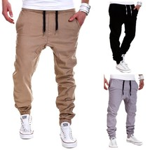 2018 New Fashion Summer and Autumn Men's Fashion Tie Rope Elastic Pants ... - $27.54