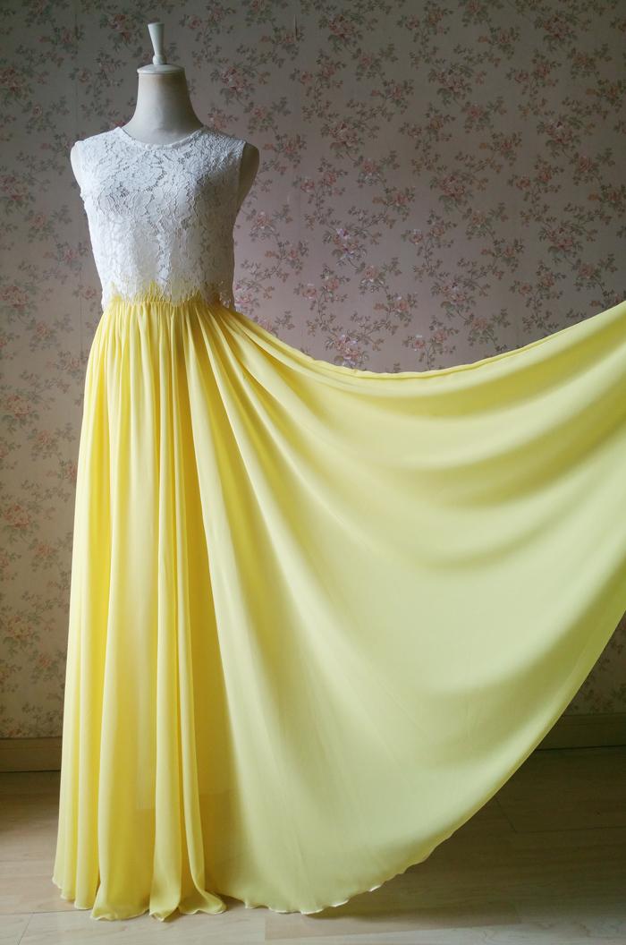 Yellow silk chiffon skirt 2
