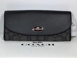 COACH F53538 Signature Slim Envelope Wallet (Leather & Fabric) New w Tag... - $103.95